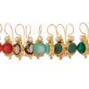 Antieke replica oorhangers - carneool, rookkwarts, chalcedoon, jade, groene onyx - E3012