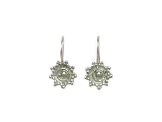 Klein zilver Etruskische oorhangers E479