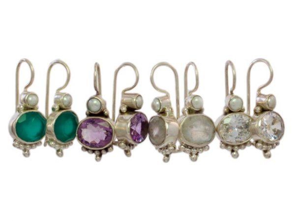 Antieke replica oorhangers - groene onyx, amethist, maansteen, zirkon - E3012
