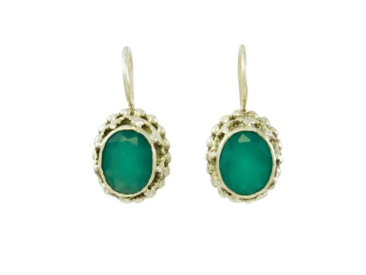 Chunky Etruscan earrings green onyx E3b