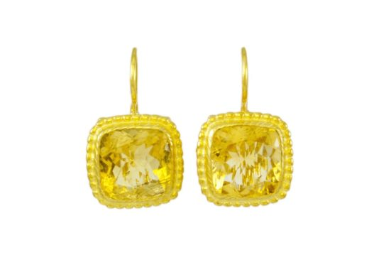 Square Etruscan gold plated earrings citrine E8307