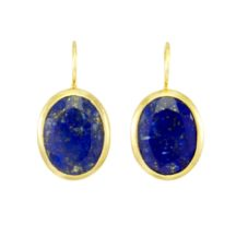 Earring Big Oval Facet Cut Lapis Lazuli – E91120