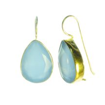 Earring Blue Chalcedony Drops With Setting