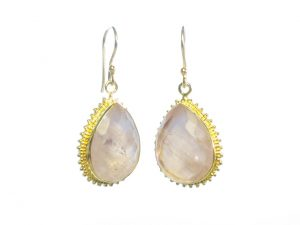 Earring Rose Quartz In Toothed Setting Loose On Hook – E1315