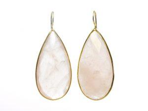 Long Rose Quarts Drop Earrings – E1197