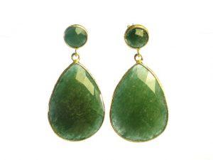 Earring Studs Jade Big Drops