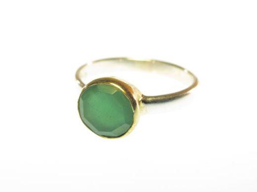R1271 ronde facet gem groene onyx ring