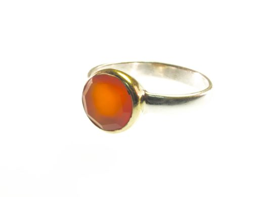 R1271 ronde facet gem carneool ring