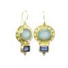 E9506-Z zilver oorbellen blauwe chalcedoon en ioliet