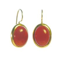 Earring Big Oval Cabochon Cut Orange Red Carnelian – E91120