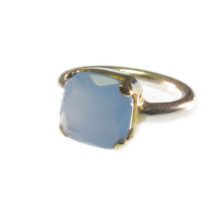 Ring With Square Blue Chalcedony In Gold Setting On Silver Tube – R7705