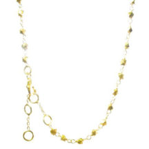 Short Necklace Facet Gold Plated Silver Beads – N8357