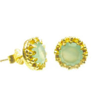 Gold Plated Stud Earrings In Crown Setting With Chalcedony – E91109