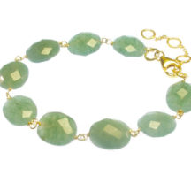 Jade Bracelet With Facet Cut Oval Jade Beads – B8330