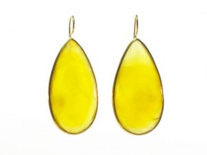 Long Yellow Onyx Drop Earrings With Setting – E1197