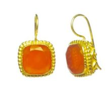Earrings With Square Facet Carnelian – E8307
