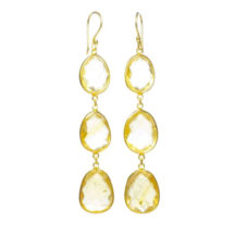 Earring Three Drops Citrine In Fine Setting – E1362