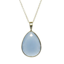 Silver Pendant Big Blue Chalcedony Drop With Setting – P1009