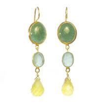Earring Jade Chalcedony And Yellow Onyx