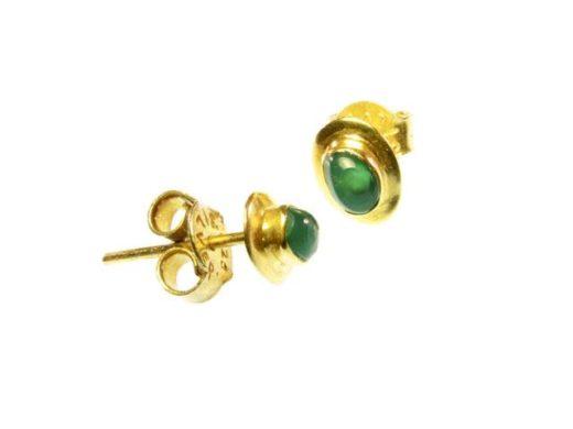 E13106-V oorknopje groene onyx