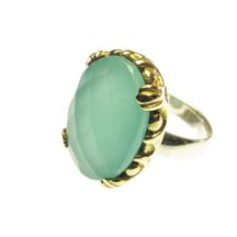Cocktail Ring With Facet Cut Aqua Chalcedony