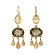 Gabrielle D'Estree Earrings Citrine And Smokey Topaz – E1047