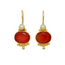 Classic Earring Oval Carnelian With Pearl – E3012