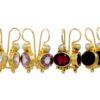 Antieke replica oorhangers - citrien, amethyst, granaat, onyx - E3012