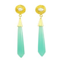 Long  Icicle Aqua Chalcedony And Pearl Stud Earrings – E1122