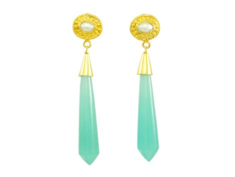 Icicle stud long earrings chalcedony and pearl E1122