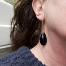 Marquise Hook Onyx Earrings E1169