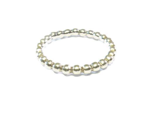 R1017-Z-2mm zilver aanschuif balletjes ring