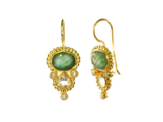 Ovaal jade en druppel citrien Etruscan earrings E13118