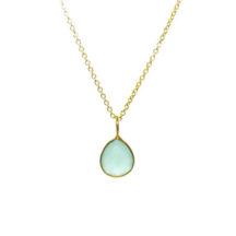 Gold Pendant Chalcedony Tear Drop In A Fine Setting – P1006