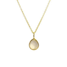 Gold Pendant Rose Quartz Tear Drop In A Fine Setting – P1006