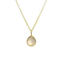 Gold Pendant Rose Quartz Tear Drop In A Fine Setting – P1006