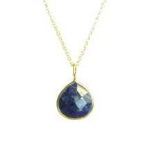 Gold Pendant Lapis Lazuli Tear Drop Fine Setting – P1007