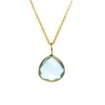 Gold Pendant Aqua Zircon Pear Drop Fine Setting – P1007
