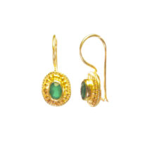 Small Earring Green Onyx Dotted Etruscan Setting – E025