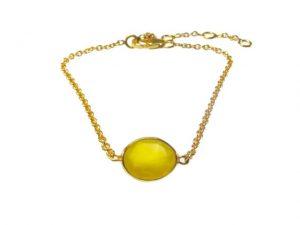 Fine Bracelet With Small Yellow Onyx