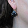 E1418-V dikke peer druppel oorbellen onyx
