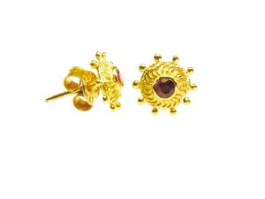 Stud Earrings With A Garnet Inspired By Rajasthan Nose Stud