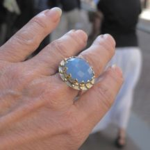 R1139-V Grote Cocktail Hippie Bohemian Chic Blauwe Chalcedoon Ring