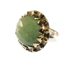 Cocktail Round Crown Setting Ring With Facet Cut Jade – R1139