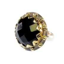 Cocktail Ring Round Crown Setting With Facet Cut Black Onyx – R1139
