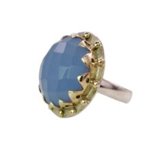 Blue Chalcedony Cocktail Ring Round Crown Setting – R1139