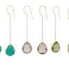 Chain silver earring, green onyx amethyst and smokey topaz E9546-Z