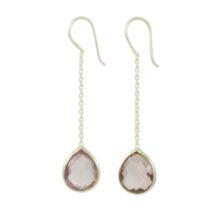 Silver Chain Earring Facet Cut Amethyst Drop – E9546