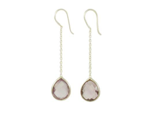 Chain silver earring amethyst E9546-Z