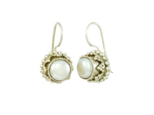 Chunky Etruscan silver earrings pearl E3b